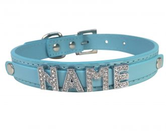 Hundehalsband blau, Glitzer