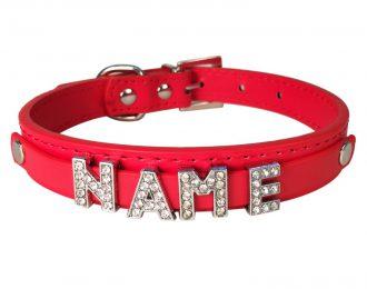 Hundehalsband rot, Glitzer